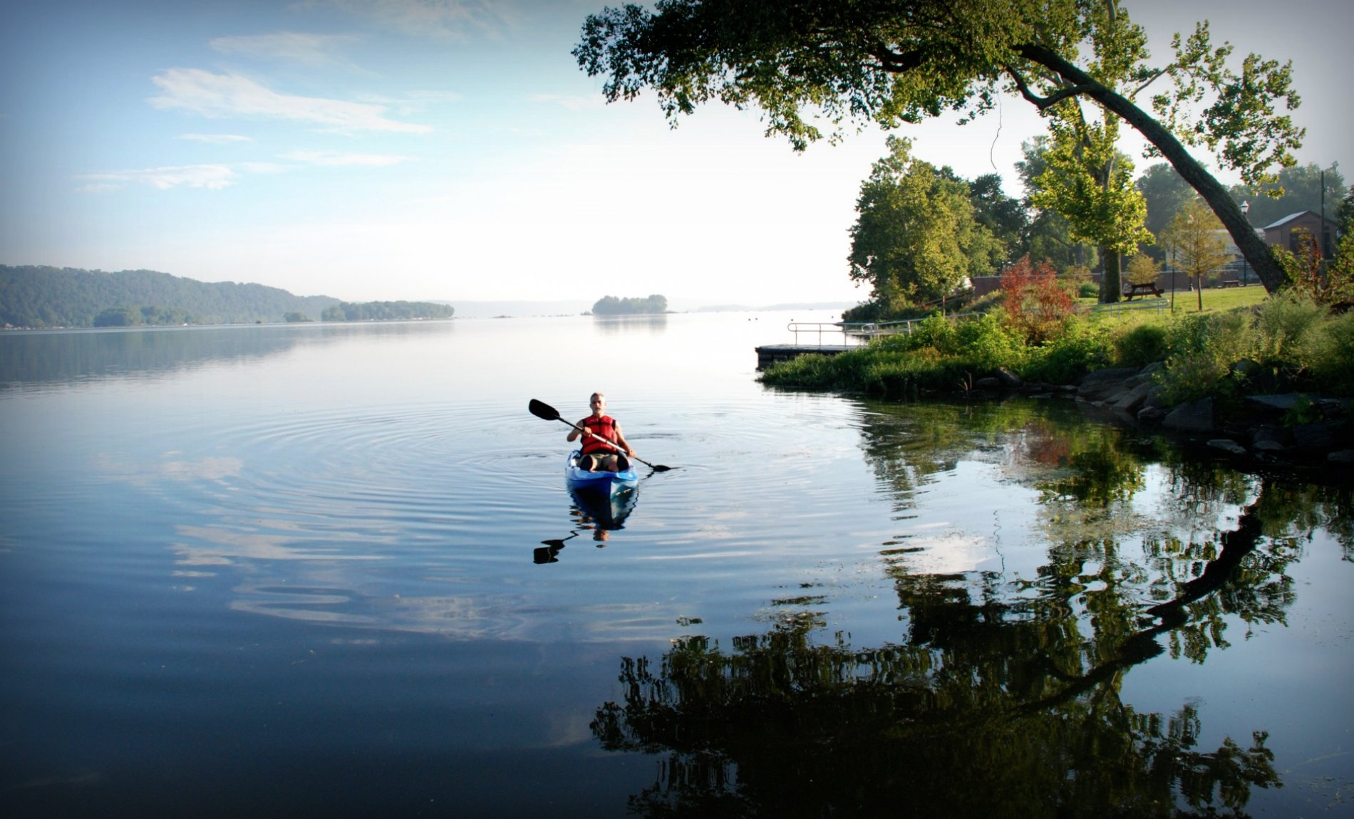 Image of Mark McGuire kayaking on the Susquehanna River.