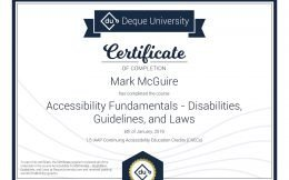 Certificate of Completion: Accessibility Fundamentals – Disabilities, Guidelines, and Laws