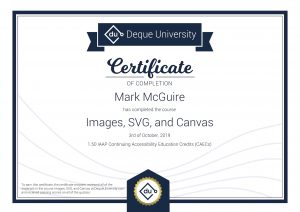 Deque University certificate.