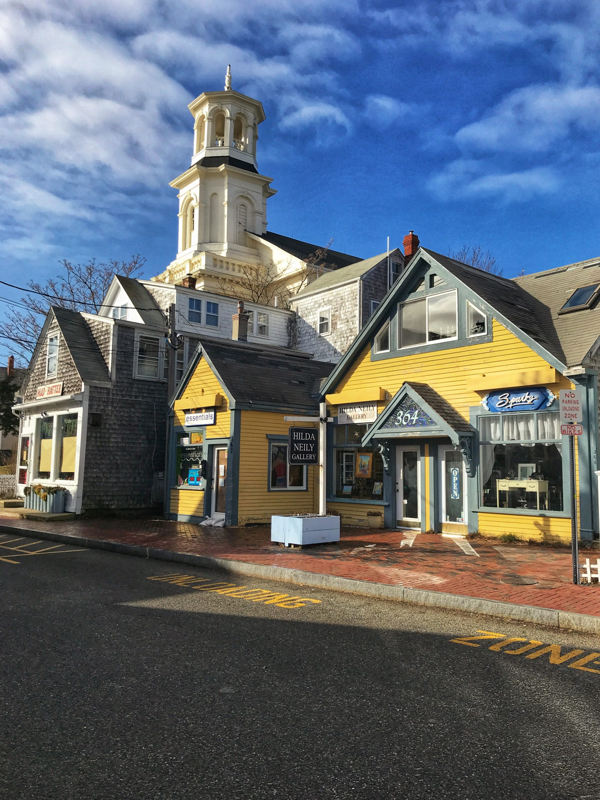 Shops and church on Commercial Street.